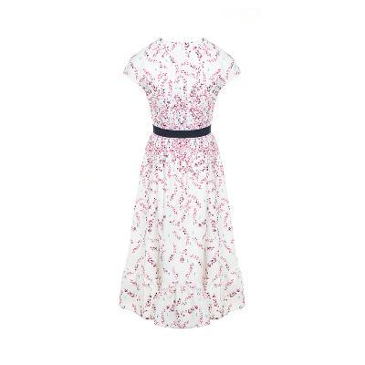 floral pattern ribbon flare dress